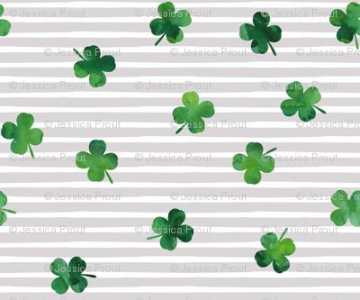 shamrocks - st patricks day - good luck green on grey stripes