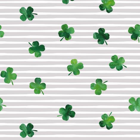 shamrocks - st patricks day - good luck green on grey stripes fabric by littlearrowdesign on Spoonflower - custom fabric
