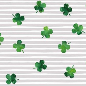 shamrocks - st patricks day - good luck green on grey stripes