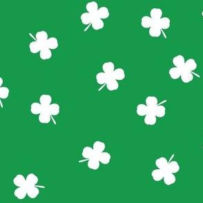 shamrocks - st patricks day - good luck white on green