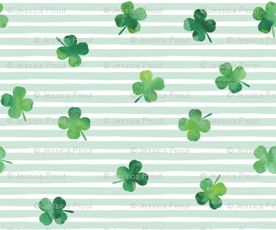 shamrocks - st patricks day - good luck mint stripes