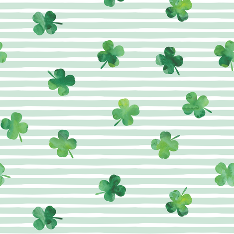 shamrocks - st patricks day - good luck mint stripes fabric by littlearrowdesign on Spoonflower - custom fabric