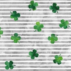 shamrocks - st patricks day - good luck watercolor grey