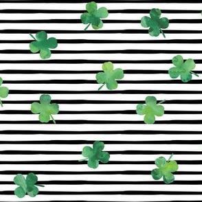 shamrocks - st patricks day - good luck green on black stripes