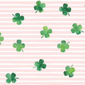shamrocks - st patricks day - good luck green on pink stripes