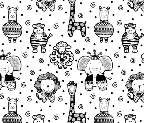Black and White Critters fabric by taziart on Spoonflower - custom fabric