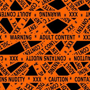contains nudity tape orange and black