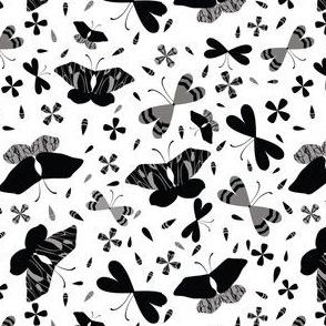 Black on White Butterflies Line Art