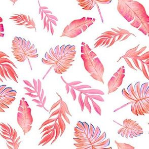 Coral pink palm leaf watercolor