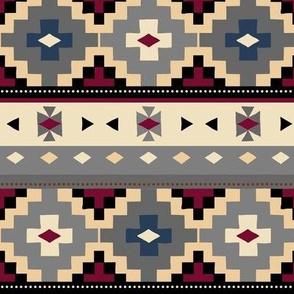 Woven Blanket /Grey-Tan-Navy