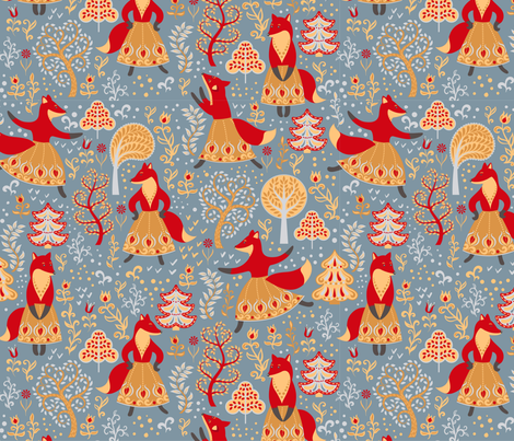 Dancing foxes in a fairy forest.  fabric by irina_skaska on Spoonflower - custom fabric