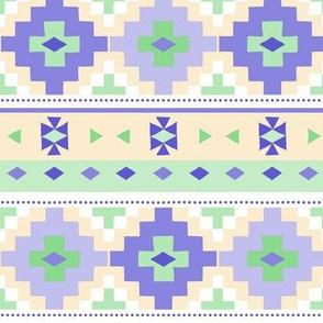 Woven Blanket  / Lavender-Yellow-Green