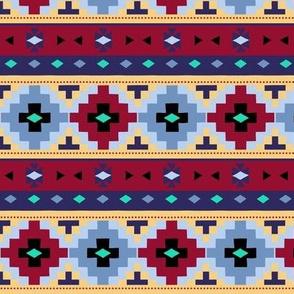Woven Blanket  / blue - burgundy