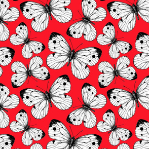 Cabbage butterfly pattern on red