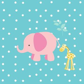 pink elephant friends on turquoise white polka dot - XL 1951