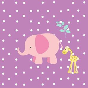pink elephant friends on purple white polka dot - XL 1951