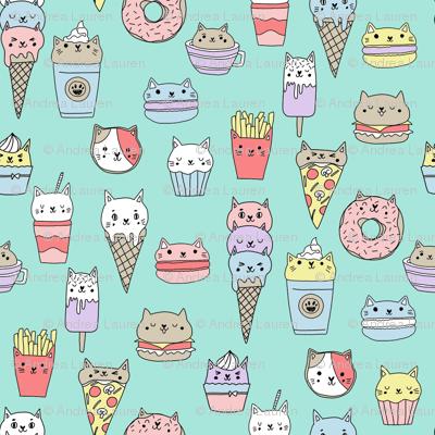 kawaii cat foods fabric - cute cat lady design, cats, cat print, cat junk food, sweets, - mint