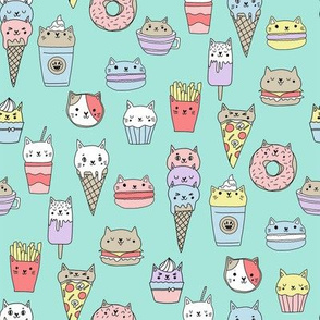 kawaii cat foods fabric - cute cat lady design, cats, cat print, cat junk food, sweets, - mint