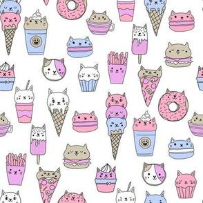 kawaii cat foods fabric - cute cat lady design, cats, cat print, cat junk food, sweets, - pastel white