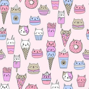 kawaii cat foods fabric - cute cat lady design, cats, cat print, cat junk food, sweets, - pastel pink