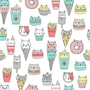 kawaii cat foods fabric - cute cat lady design, cats, cat print, cat junk food, sweets, - white and mint