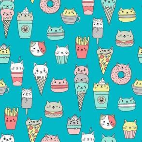 kawaii cat foods fabric - cute cat lady design, cats, cat print, cat junk food, sweets, - teal