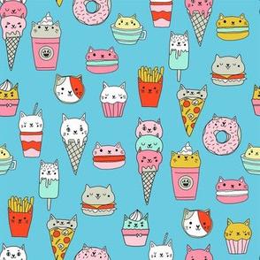 kawaii cat foods fabric - cute cat lady design, cats, cat print, cat junk food, sweets, - turquoise