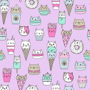 kawaii cat foods fabric - cute cat lady design, cats, cat print, cat junk food, sweets, - purple