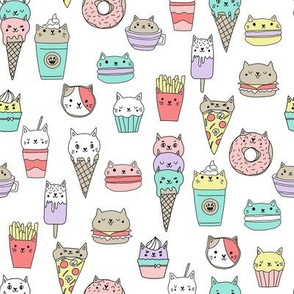 kawaii cat foods fabric - cute cat lady design, cats, cat print, cat junk food, sweets, - white