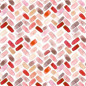 Coral herringbone || watercolor brush stroke chevron pattern