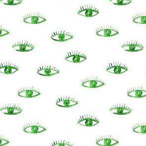 Green eyes watching you || watercolor