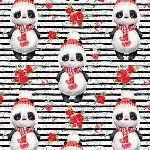 """4"""" Red Floral Panda Black and White Stripes"""