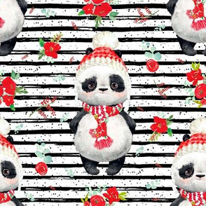 """8"""" Red Floral Panda Black and White Stripes"""
