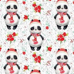 "4"" Red Floral Panda Black Dots"