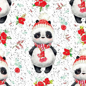 "8"" Red Floral Panda Black Dots"