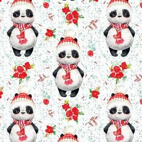 "4"" Red Floral Panda Green Dots"