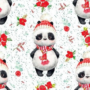 "8"" Red Floral Panda Green Dots"