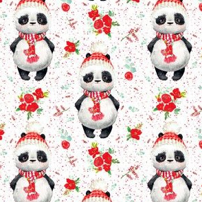 """4"""" Red Floral Panda Red Dots"""