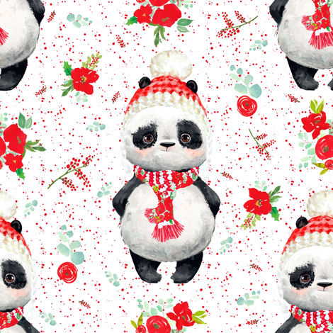 "8"" Red Floral Panda Red Dots fabric by shopcabin on Spoonflower - custom fabric"