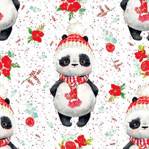 """8"""" Red Floral Panda Red Dots"""