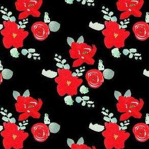 "4"" Red Florals Black"