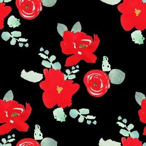 "8"" Red Florals Black"
