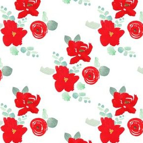"""4"""" Red Florals White"""