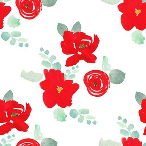 """8"""" Red Florals White"""