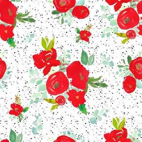 "8"" Red Winter Watercolor Florals Black Dots"
