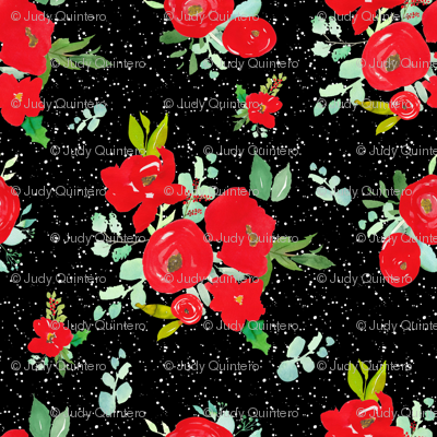"""4"""" Red Winter Watercolor Florals Black White Dots"""