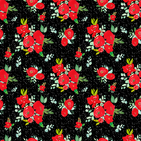 """4"""" Red Winter Watercolor Florals Black White Dots fabric by shopcabin on Spoonflower - custom fabric"""