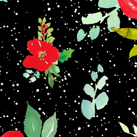 """21"""" Red Winter Watercolor Florals Black White Dots fabric by shopcabin on Spoonflower - custom fabric"""