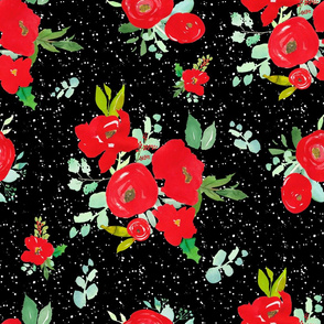 """21"""" Red Winter Watercolor Florals Black White Dots"""