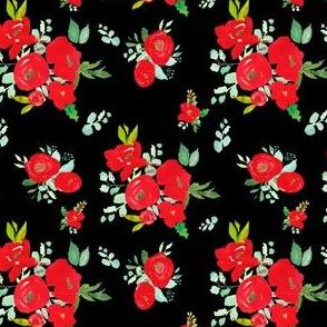 "4"" Red Winter Watercolor Florals Black"